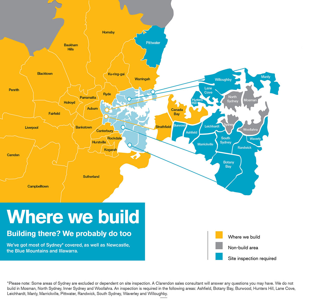 Where We Build New Homes in NSW - City Area