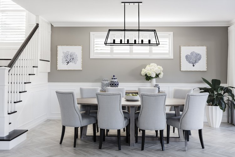 Hamptons dining room in the Boston 36 display home by Clarendon Homes
