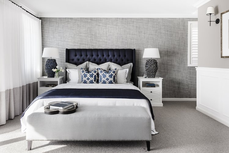 Hamptons master bedroom in the Boston 36 display home by Clarendon Homes